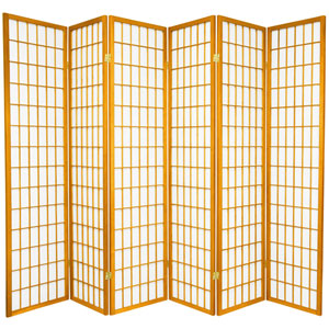6 ft. Tall Window Pane Shoji Screen - Honey - 6 Panels