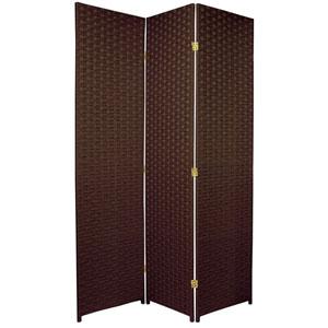 Six Ft. Tall Woven Fiber Room Divider Three Panel Dark Mocha, Width - 51 Inches