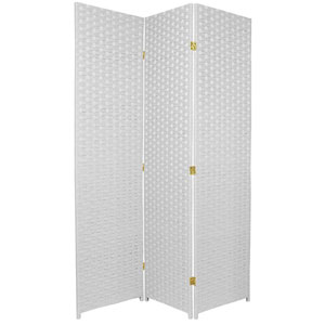 Six Ft. Tall Woven Fiber Room Divider Three Panel White, Width - 51 Inches