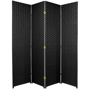 Six Ft. Tall Woven Fiber Room Divider Four Panel Black, Width - 68 Inches