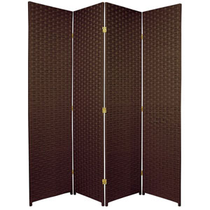 Six Ft. Tall Woven Fiber Room Divider Four Panel Dark Mocha, Width - 68 Inches