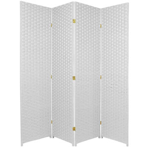 Six Ft. Tall Woven Fiber Room Divider Four Panel White, Width - 68 Inches