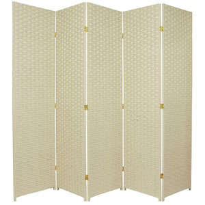 Six Ft. Tall Woven Fiber Room Divider Five Panel Cream, Width - 85 Inches