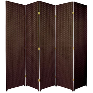 Six Ft. Tall Woven Fiber Room Divider Five Panel Dark Mocha, Width - 85 Inches
