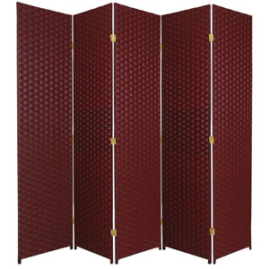 Six Ft. Tall Woven Fiber Room Divider Five Panel Red/Black, Width - 85 Inches