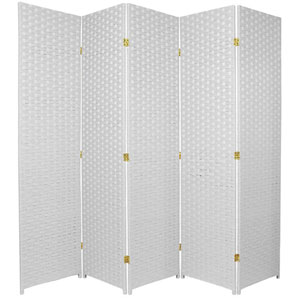 Six Ft. Tall Woven Fiber Room Divider Five Panel White, Width - 85 Inches