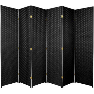 Six Ft. Tall Woven Fiber Room Divider Six Panel Black, Width - 102 Inches