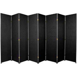 Six Ft. Tall Woven Fiber Room Divider Eight Panel Black, Width - 136 Inches