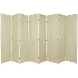 Six Ft. Tall Woven Fiber Room Divider Eight Panel Dark Cream, Width - 136 Inches