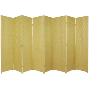Six Ft. Tall Woven Fiber Room Divider Eight Panel Dark Beige, Width - 136 Inches