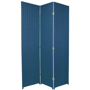 Six Ft. Tall Woven Fiber Room Divider - Special Edition Blue Jeans Three Panel, Width - 51 Inches