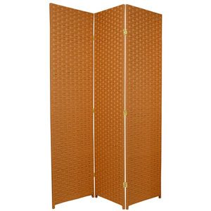 Six Ft. Tall Woven Fiber Room Divider - Special Edition Rust Three Panel, Width - 51 Inches