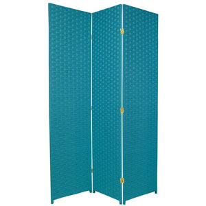 Six Ft. Tall Woven Fiber Room Divider - Special Edition Turquoise Blue Three Panel, Width - 51 Inches