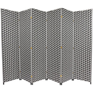 Six Ft. Tall Woven Fiber Room Divider - Black/White Six Panel, Width - 106.5 Inches