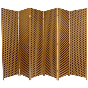 Six Ft. Tall Woven Fiber Room Divider - Two Tone Brown Six Panel, Width - 106.5 Inches