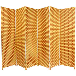 Six Ft. Tall Woven Fiber Room Divider - Natural/Rust Six Panel, Width - 106.5 Inches