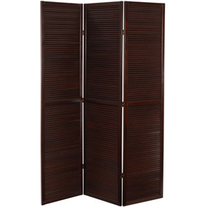 6 ft. Tall Double Venetian Room Divider - 3 Panels - Walnut
