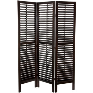 6 ft. Tall Double Shutter Room Divider - 3 Panels - Walnut