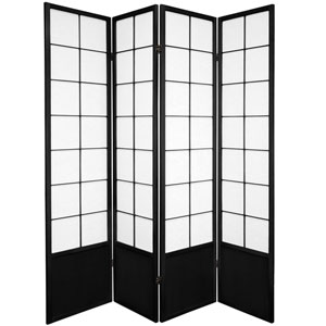 6 ft. Tall Zen Shoji Screen - Black - 4 Panels