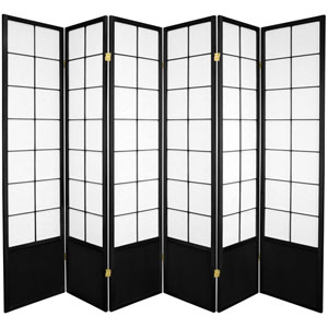 6-Foot Tall Zen Shoji Screen - Black-6 Panel