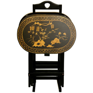 Rosewood TV Tray Set - Antique Gold, Width - 17 Inches