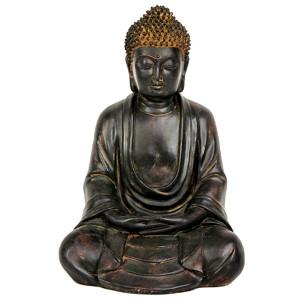 Japanese Brown 9-Inch Tall Sitting Buddha Statue