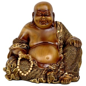 Brown 6-Inch High Sitting Laughing Buddha Statue