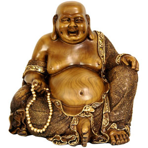 10.5 Inch Sitting Hotei Happy Buddha Statue, Width - 11 Inches