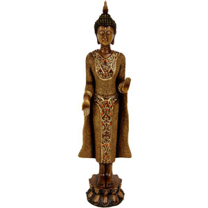 19 Inch Standing Thai Buddha Statue, Width - 4 Inches