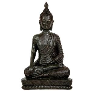 Brown 10-Inch Tall Laotian Sitting Buddha Statue