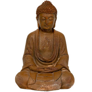 9 Inch Japanese Sitting Zenjo - in Rust Patina Buddha Statue, Width - 6.5 Inches