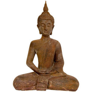 17 Inch Thai Sitting Zenjo - in Rust Patina Buddha Statue, Width - 12.5 Inches