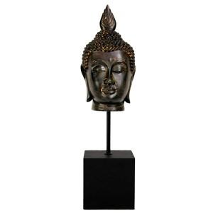 Brown 19-Inch Tall Burmese Buddha Head Statue