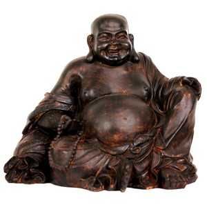 Brown 8-Inch High Sitting Laughing Buddha Statue