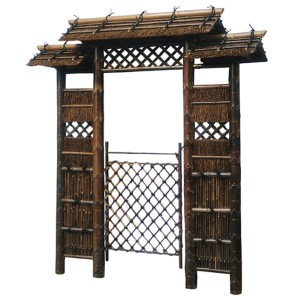 Garden Brown 7 Ft. Japanese Style Zen Garden Gate