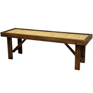 Japanese Bamboo Bench W Wood Frame Width 47 25 Inches