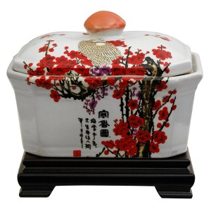 Red and White Cherry Blossom Porcelain Covered Jar