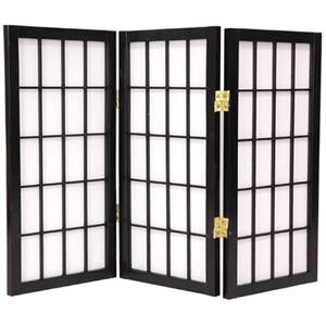 Black 24-Inch Desktop Window Pane Shoji Screen