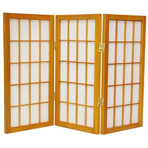 Honey 24-Inch Desktop Window Pane Shoji Screen