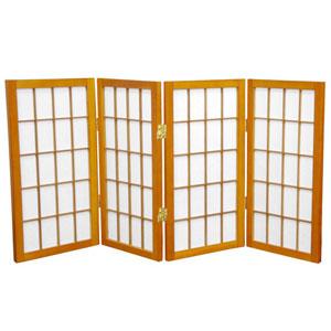 Honey Two Ft. Tall Desktop Window Pane Shoji Screen, Width - 48 Inches