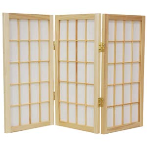 Natural 24-Inch Desktop Window Pane Shoji Screen