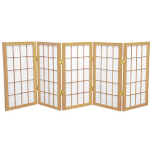 Natural Two Ft. Tall Desktop Window Pane Shoji Screen, Width - 60 Inches