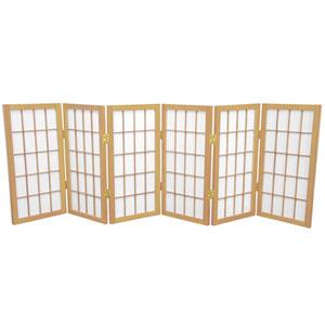 Natural Two Ft. Tall Desktop Window Pane Shoji Screen, Width - 72 Inches