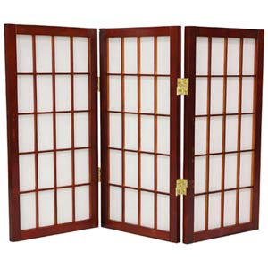 Walnut 24-Inch Desktop Window Pane Shoji Screen