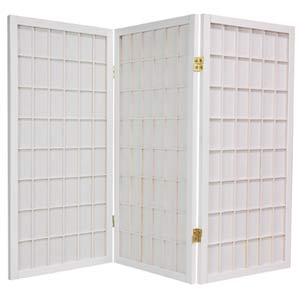 White 36-Inch Window Pane Shoji Screen