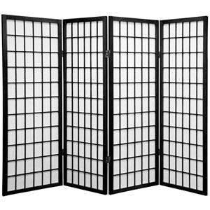Black Four Ft. Tall Window Pane Shoji Screen, Width - 69 Inches