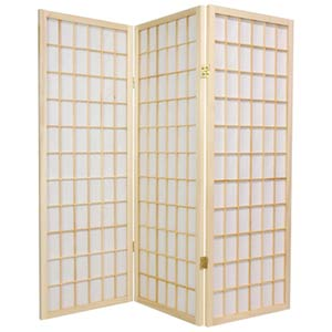Natural 48-Inch Window Pane Shoji Screen