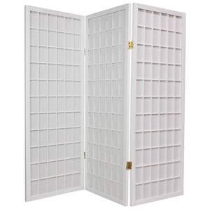White 48-Inch Window Pane Shoji Screen