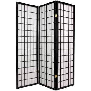 Black 60-Inch Window Pane Shoji Screen