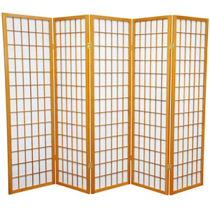 Honey Five Ft. Tall Window Pane Shoji Screen, Width - 85 Inches